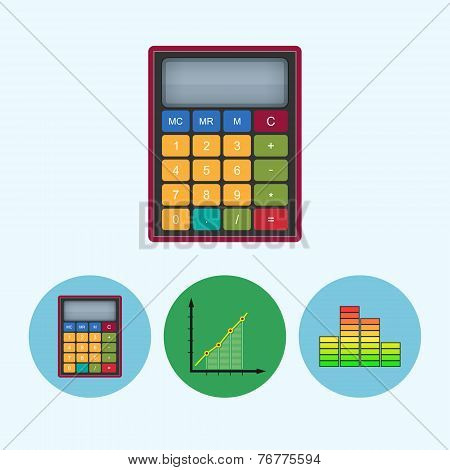 Set Icons With  Calculator, Indicator, Diagram, Infographics, Chart, Vector Illustration
