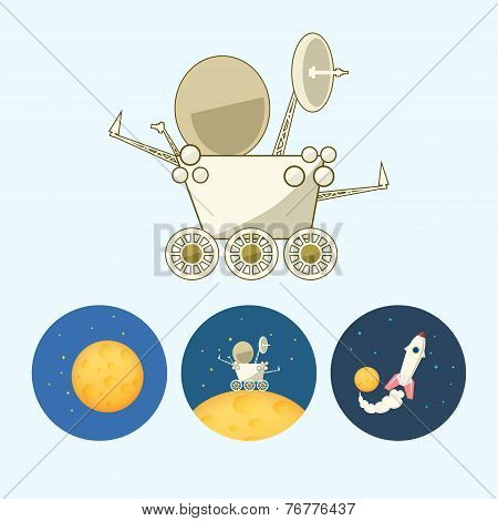 Set Icons With  Moon, Spaceship, Moonwalker, Rover, Vector Illustration