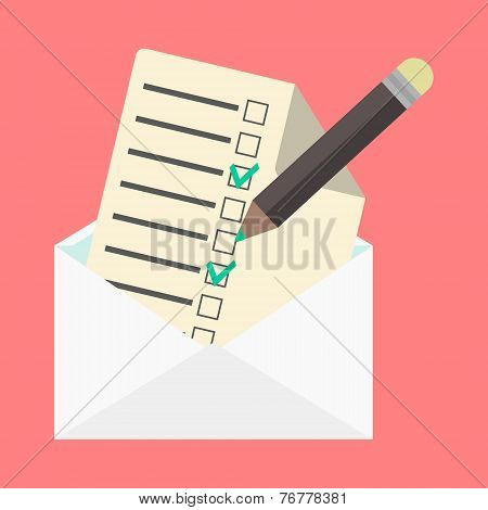 open envelope and check list