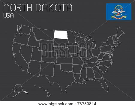 Map Of The The United States Of America With 1 State Selected - North Dakota