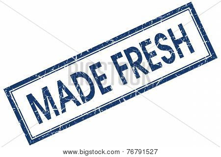 made fresh blue square stamp isolated on white background poster