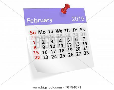 Monthly Calendar For Year 2015. February