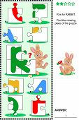 What's missing? Visual educational puzzle to learn with fun the letters of English alphabet: letter R (R is for rabbit). Answer included. poster