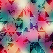 Seamless background pattern. Shapes of rhombuses on blur background. poster