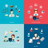 Pharmacist icons flat set with pharmacy business apothecary profession medicines isolated vector illustration poster