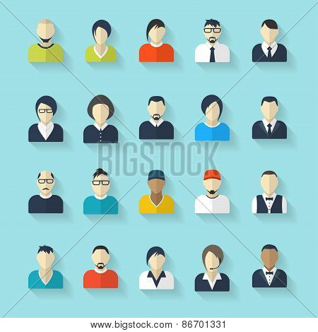 Flat avatar icons. Business concept, global communication. Web site user profile.  Social media, net