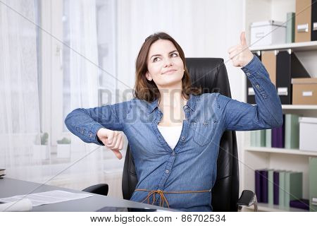 Thoughtful Office Woman Showing Thumbs Up And Down