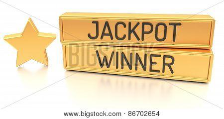 Jackpot Winner - 3D Banner, Isolated On White Background