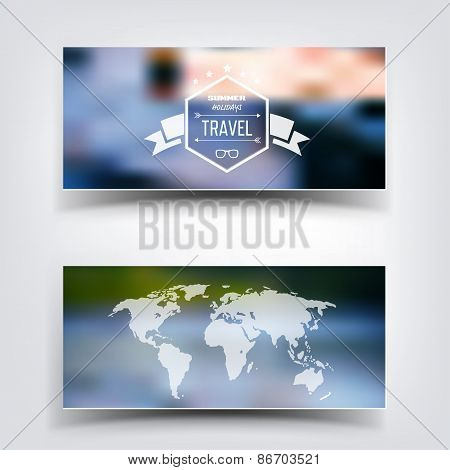 Blurred landscape background card. Travel concept with eart map. Mobile or web ui element. Web site