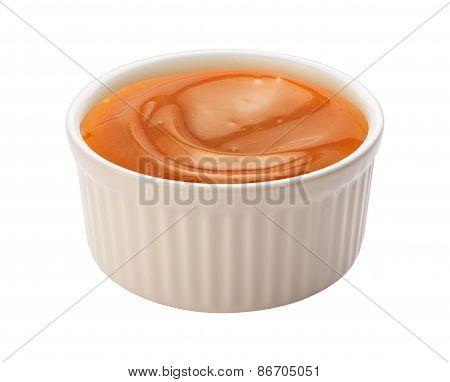 Caramel Syrup In A Ramekin