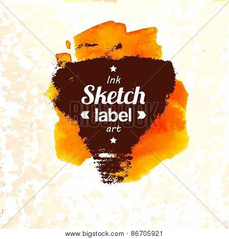 Abstract modern style sunny watercolor sketch label
