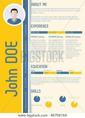 Modern Resume Cv With Shadow Design
