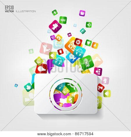 Photocamera icon. Application button.Social media.Cloud computing.