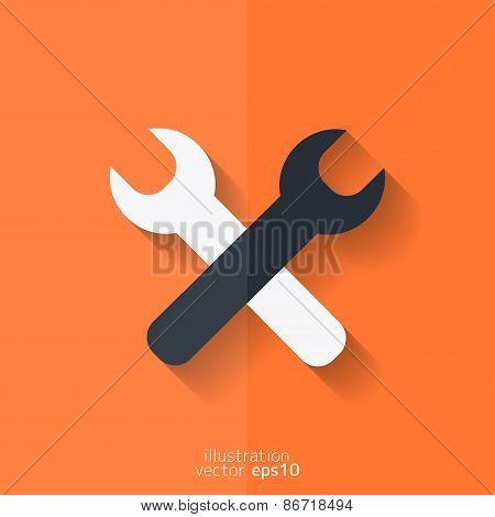 Repair tools icon. Technological instrument. Flat design.
