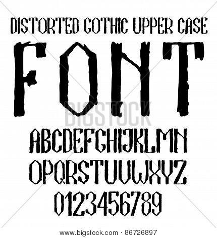 Handwritten black distorted gothic upper case alphabet with numbers