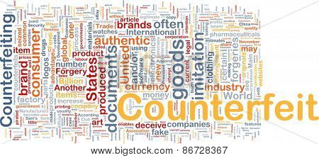 Background concept wordcloud of counterfeit goods