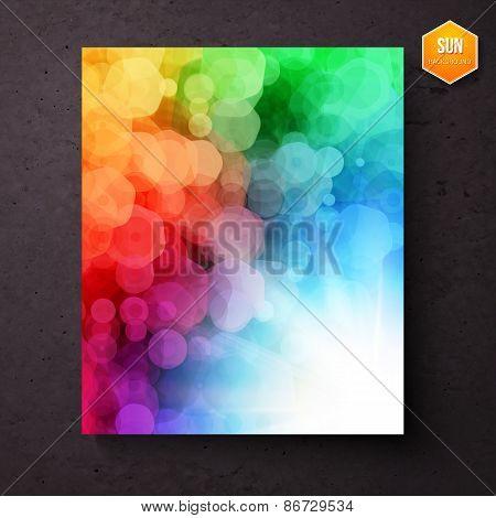 Rainbow abstract pattern above a sunburst