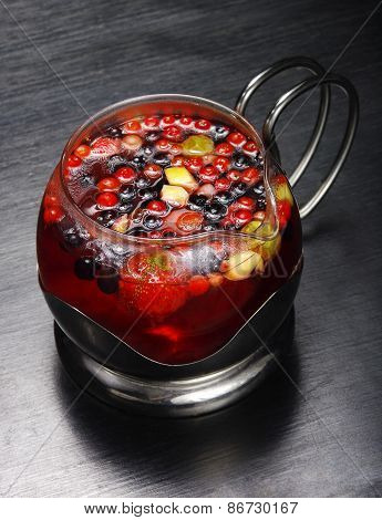 Compote in a glass container