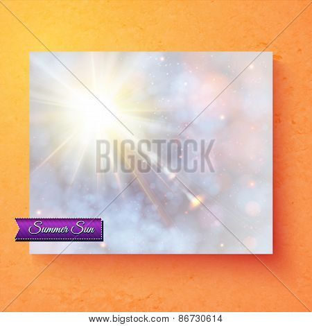Pretty summer card deisgn with ethereal sunburst