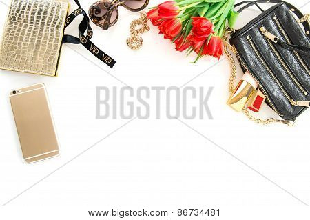 Fashion Mock Up With Accessories, Flowers, Cosmetics. Online Shop