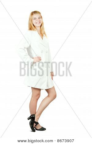 Pretty girl in cloak. Isolated over white poster