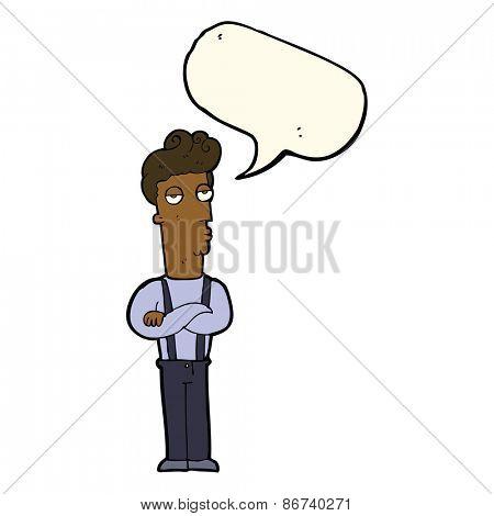 cartoon unimpressed man with speech bubble