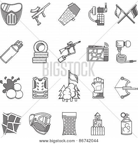 Black line icons vector collection for paintball