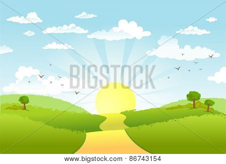 The road in green fields,  leading for the sun on the horizon