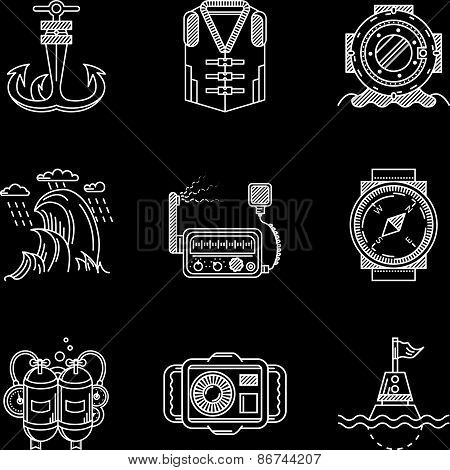 White line vector icons for marine equipment