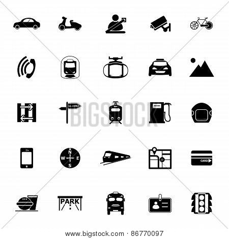 Land Transport Related Icons On White Background