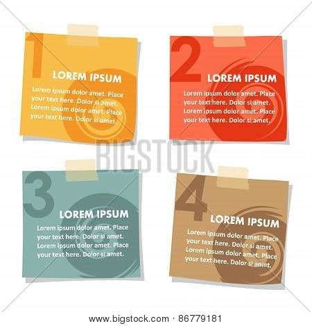Set Of Post Stick Notes Papers, Vector Illustration