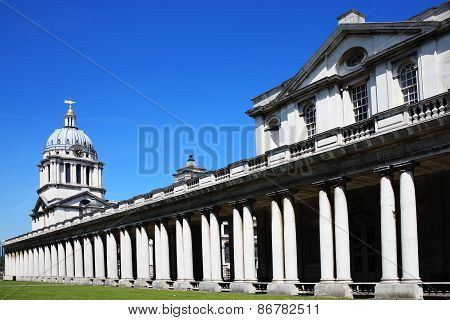 Designed by Sir Christopher Wren and built between 1696-1712 as Greenwich Hospital in Greenwich, England, UK, the Old Royal Naval College was established in 1873and stands opposite London's Docklands poster