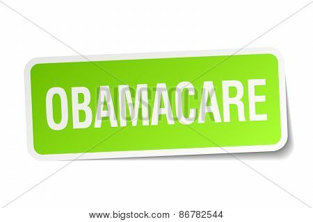 Obamacare Green Square Sticker On White Background