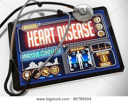 Heart Disease on the Display of Medical Tablet.