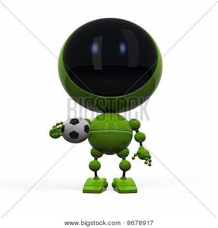 Nice Robot With Football Ball