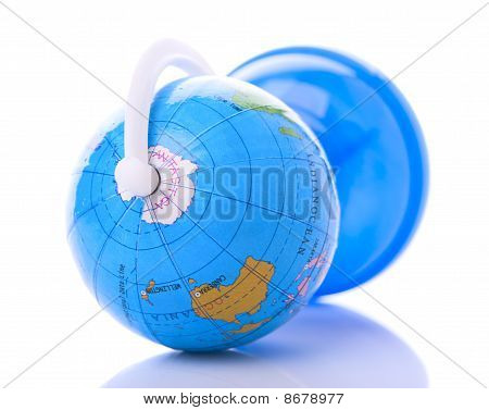 Globe Lies On One Side, Shows Antarctica, Oceania/australia And Indian Ocean