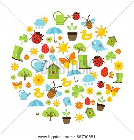 Cute spring background with icons representing spring activities, nature and freshness.