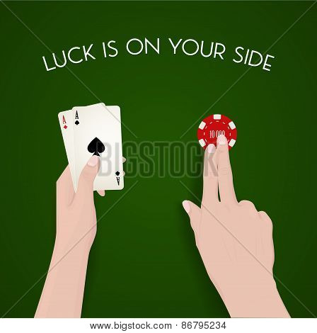 Gambling and luck, dealer, green cloth, fortune, easy money, live to win, cash out