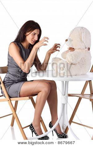 Girl Scares Teddy Bear