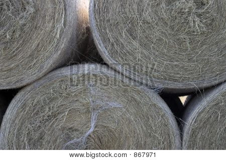 Large Bales Of Hay Stacked Up
