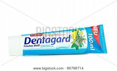 A tube of Colgate Dentagard toothpaste