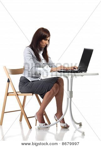 Tired Women Sitting With Computer