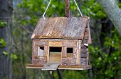 wooden log cabin bird house poster