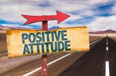 Positive Attitude sign with road background poster