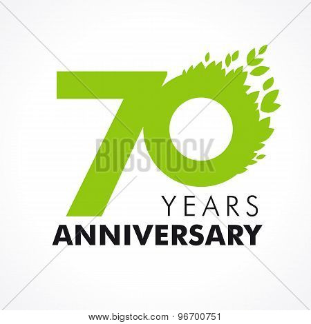 70 years old celebrating green flying leaves logo. Anniversary year of 70 th vector template. Birthday greetings celebrates. Environmental protection, natural products jubilee ages. Health care icon.