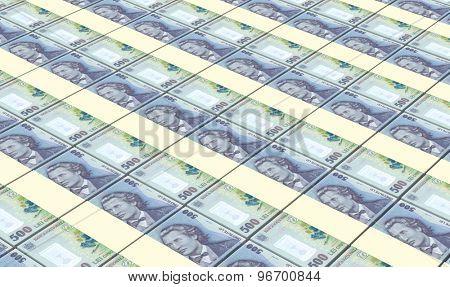 Romanian leu bills stacks background.