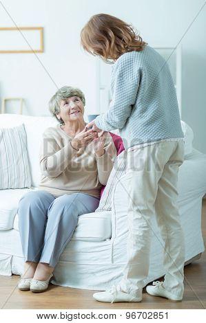 Female Pensioner And Her Carer