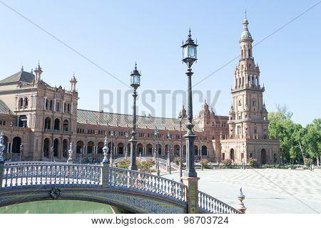 Bridge, Lamp Post And Tower At Spain Square