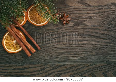 christmas decorations on old oak table, rustic
