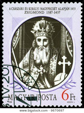 Vintage  Postage Stamp. King Of Hungary Sigmund.